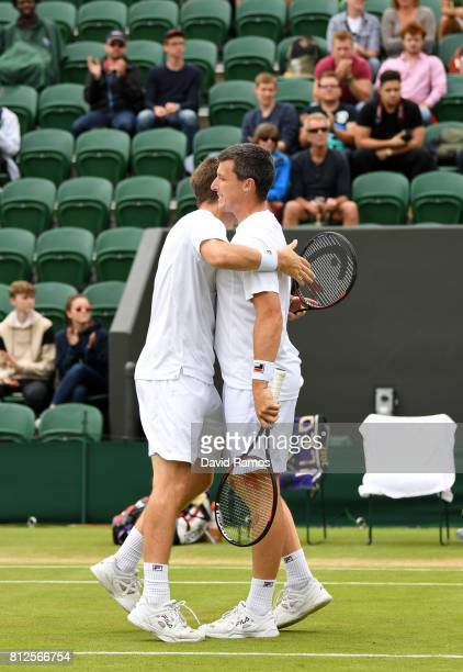 Neal Skupski of Great Britain and Ken Skupski of Great Britain celebrate victory after the Gentlemen's Doubles third round match against Marcus...