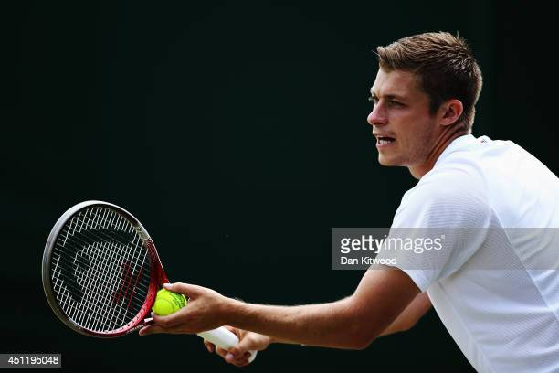 Neal Skupski of Great Britain during his Gentlemen's Doubles first round match with Ken Skupski against Dustin Brown and JanLennard Struff of Germany...