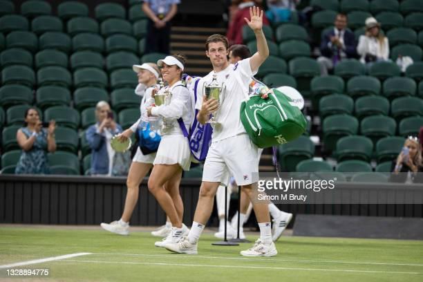 Neal Skupski of United Kingdom and Desirae Krawczyk of USA celebrate winning in the Mixed Doubles Final against Harriet Dart and Joe Salisbury of...