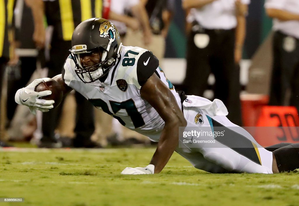 Neal Sterling #87 of the Jacksonville Jaguars rushes for yardage during a preseason game against the Carolina Panthers at EverBank Field on August 24, 2017 in Jacksonville, Florida.
