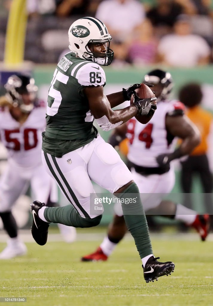 Neal Sterling #85 of the New York Jets catches a pass in the second quarter against the Atlanta Falcons during a preseason game at MetLife Stadium on August 10, 2018 in East Rutherford, New Jersey.