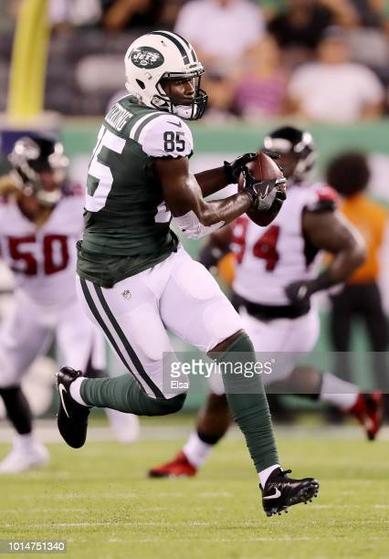 Neal Sterling of the New York Jets catches a pass in the second quarter against the Atlanta Falcons during a preseason game at MetLife Stadium on...