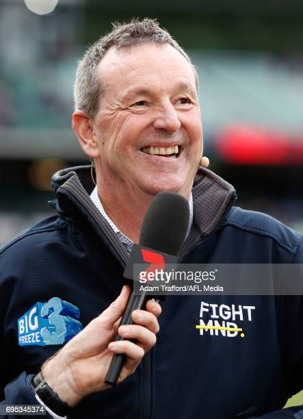 Neale Daniher is interviewed by Channel Seven ahead of the Big Freeze during the 2017 AFL round 12 match between the Melbourne Demons and the...