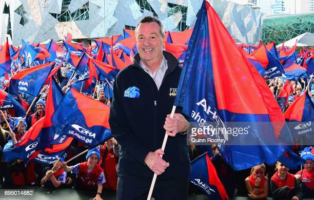 Neale Daniher poses at Federation Square at he leads the walk to the MCG for Freeze MND during the round 12 AFL match between the Melbourne Demons...