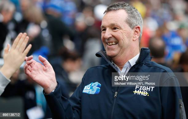 Neale Daniher thanks fans as part of the Big Freeze 3 during the 2017 AFL round 12 match between the Melbourne Demons and the Collingwood Magpies at...