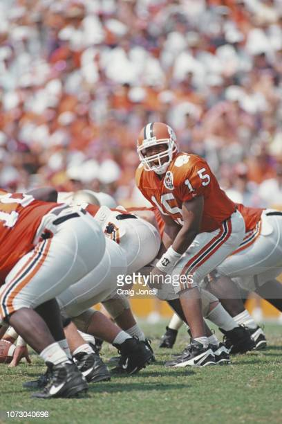 Nealon Greene Quarterback for the Clemson University Tigers calls the play at the line of scrimmage during the NCAA Atlantic Coast Conference college...