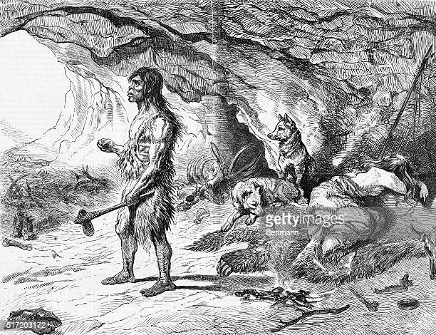 Neanderthal Man in front of his cave