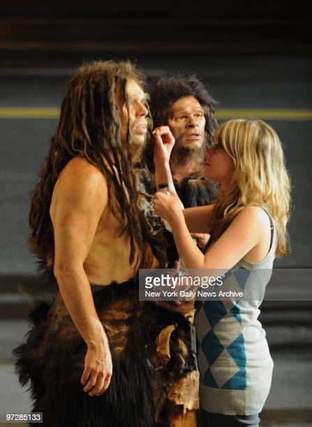 Neanderthal man is made up for filming at the filming outside the Museum Of Natural History on Central Park West of 'Night At The Museum 2 Battle Of...