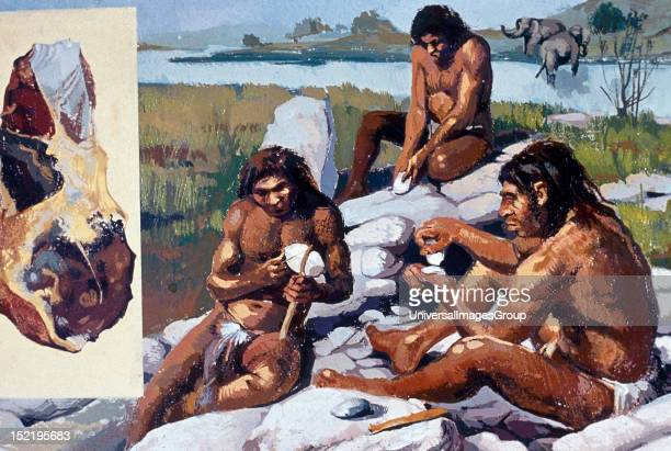Neanderthals making weapons and tools.