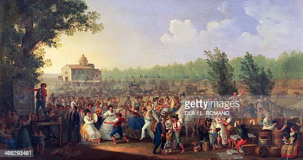 Neapolitan festival of Madonna Dell'Arco painting by Giacinto Gigante oil on canvas