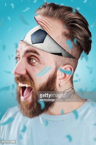 Neapolitan football fan with football inside the head