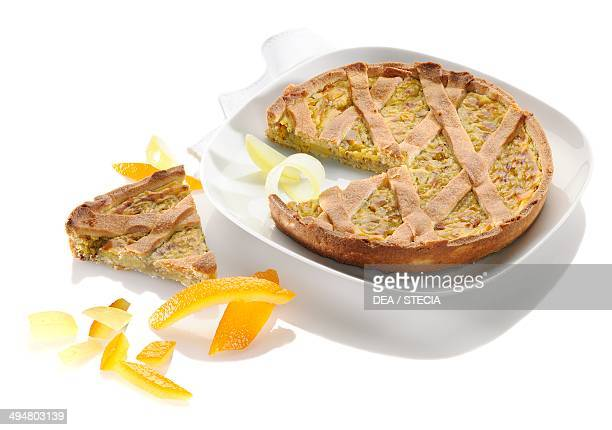Neapolitan pastries puff pastry pie with ricotta cheese candied fruit and sugar Naples Italy