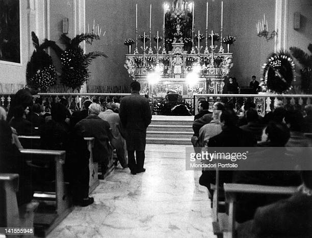 Neapolitans taking part in the funeral service of American Mafia boss Lucky Luciano Naples 26th January 1962