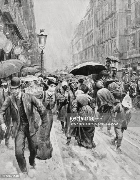 Neapolitans walking under the ash rain Vesuvius eruption Italy drawing by Edoardo Matania from L'Illustrazione Italiana Year XXXIII No 18 May 6 1906