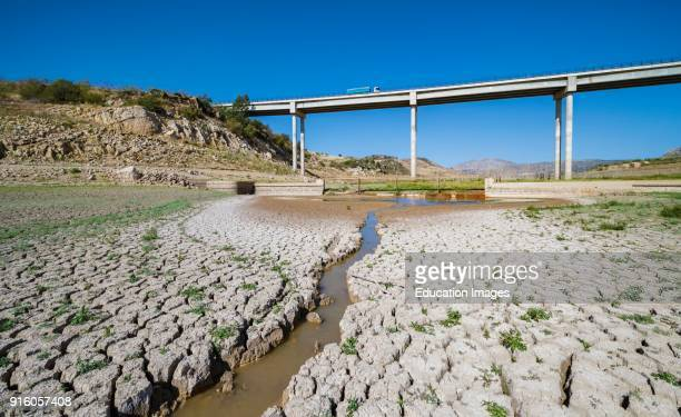 near Ardales Malaga Province Andalusia southern Spain State of entrance to GuadaltebaGuadalhorce dam in October 2017 after hot summer with no rain