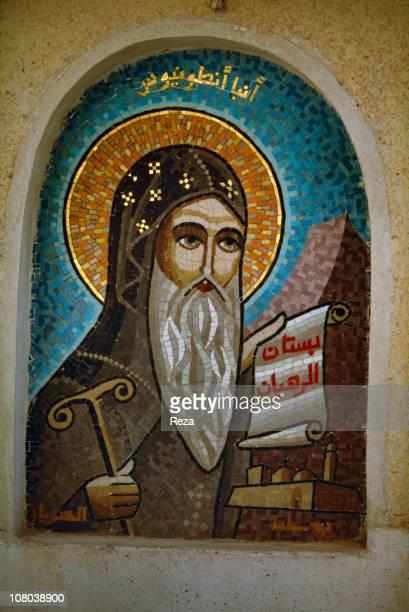 Near Bir Hooker Coptic Monastery of St BishoyA mosaic from the Coptic Monastery of St Bishoy represents St Anthony the key figure of the Coptic...