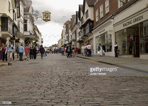 A near deserted Guildford High Street as England played Denmark in a World Cup Match in Japan on June 15 2002