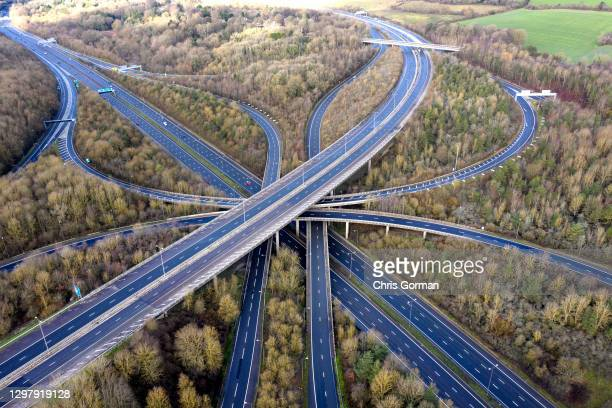 Near deserted M25/M23 junction at 11am on January 17,2021 in Surrey, England. England's 3rd lockdown due to the covid-19 pandemic is expected to last...