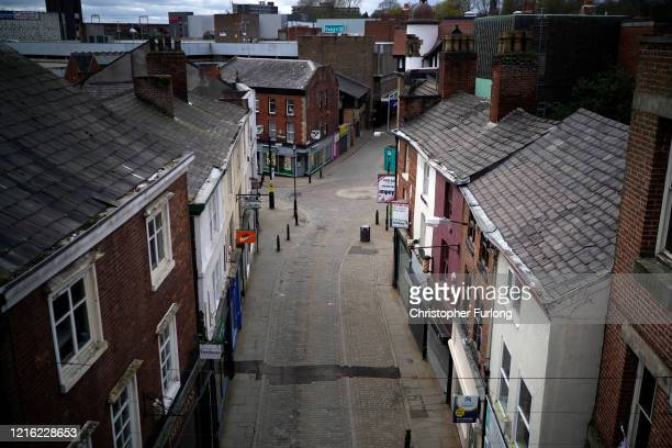 Near deserted Stockport town centre during the pandemic lockdown and the closure of shops, restaurants and businesses on April 01, 2020 in Stockport,...