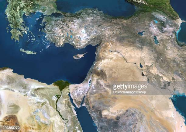 Near East true colour satellite image The deserts of Saudi Arabia dominate this image The Persian Gulf and the Red Sea border the Arabian Peninsula...
