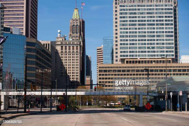 Near empty streets are seen in Baltimore Maryland April 6 as the state continues a stayathome order due to the outbreak of COVID19 known as the...