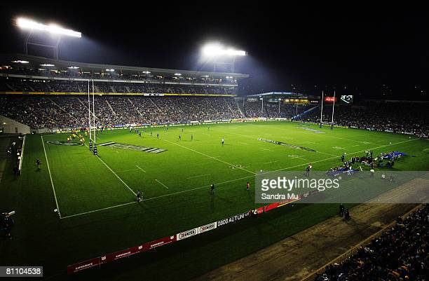Near full capacity at Eden Park during the round 14 Super 14 match between the Blues and the Hurricanes at Eden Park on May 16 2008 in Auckland New...