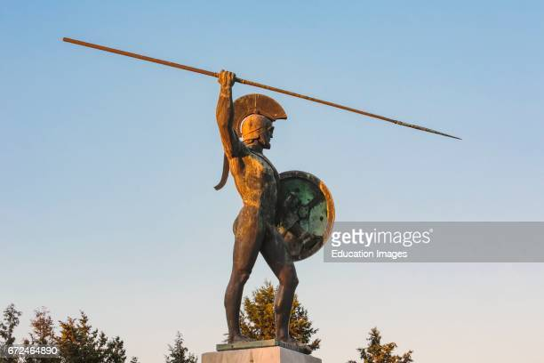 near Kamena Vourla Central Greece Greece Statue of Leonidas on the monument celebrating the Battle of Thermopylae which took place during the...