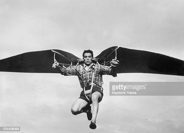 Near Milan The Italian experimenter Augusto COLOMBO doing a tensecond flight on a one hundredmeter distance with wings he made on his own