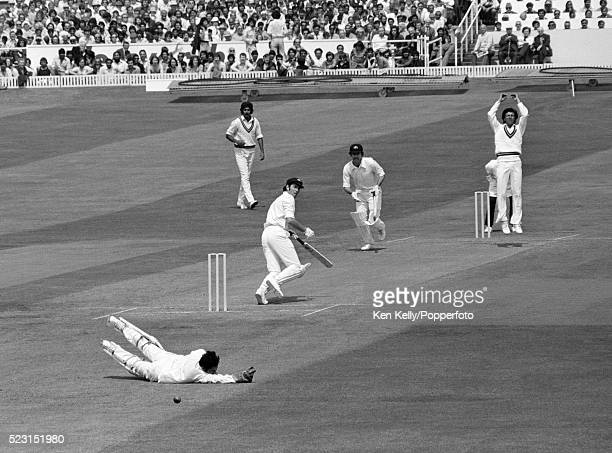 A near miss for Australian batsman Rick McCocker who edges a ball from Asif Iqbal past Pakistan wicketkeeeper Wasim Bari during their Prudential...