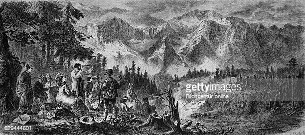 Near mittenwald in front of the wettersteinalp, bavaria, germany, wood engraving, c 1880, europe