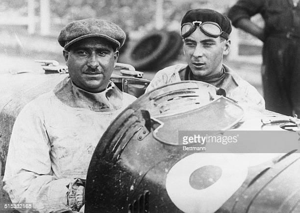 Italian Speed King in Paris For French Grand Prix Campari Italian speed king is pictured with his mechanician [sic] Siema in their Alfa Romeo racer...
