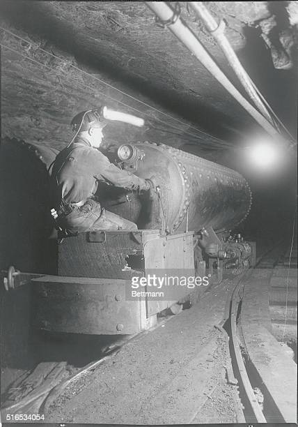 Anthracite Coal Mining at Maple Hill Colliery showing the use of a compressed air locomotive