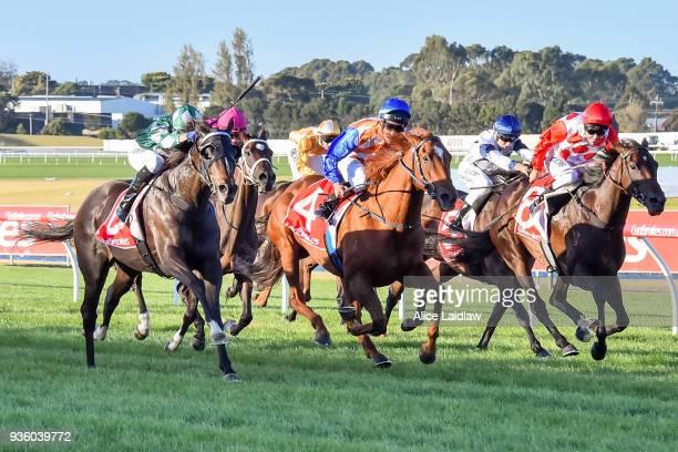 Near Queue ridden by Fred Kersley wins the Ladbrokes Handicap at Ladbrokes Park Hillside Racecourse on March 21 2018 in Springvale Australia