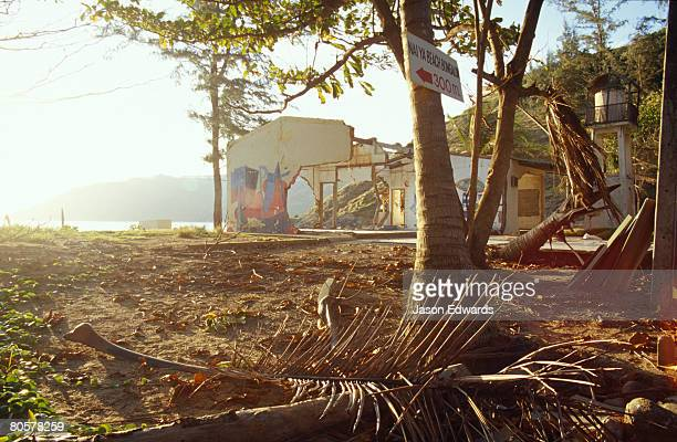 The aftermath of the Boxing Day Tsunami wreckage to a coastal village.