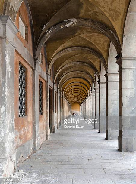 Near the Elissa Gate in Lucca, Tuscany is this covered walkway with a vaulted ceiling. A series of arches leading to a vanishing point.