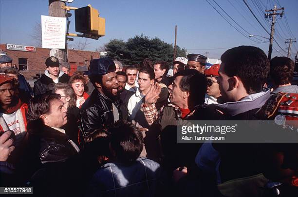 Near the pizzeria in Howard Beach Queens where AfricanAmerican Michael Griffith was chased to his death on the Belt Parkway by a group of...