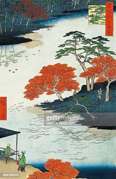 Near the Shinto temple of Akiba ukiyoe art print by Utagawa Hiroshige from The hundred famous views of Edo No 91 Obantatee woodcut 38x255 cm Japanese...