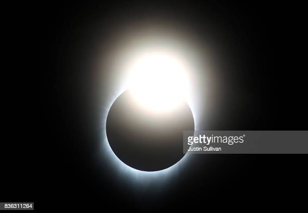 A near total eclipse is seen from South Mike Sedar Park on August 21 2017 in Casper Wyoming Millions of people have flocked to areas of the US that...