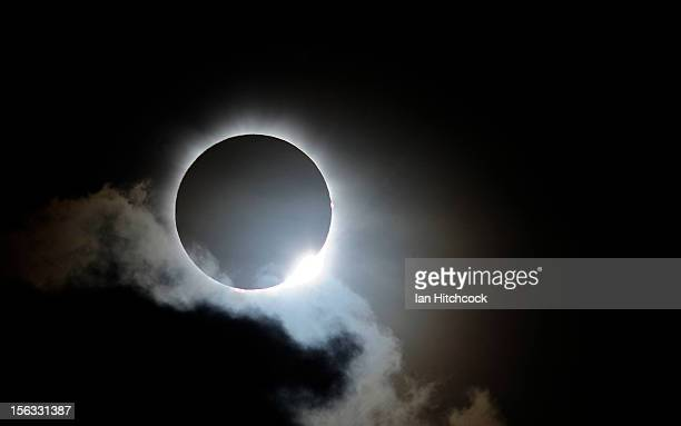 Near totality is seen during the solar eclipse at Palm Cove on November 14, 2012 in Palm Cove, Australia. Thousands of eclipse-watchers have gathered...