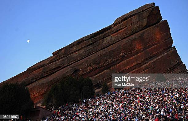 A nearcapacity crowd attends the sixtythird annual Easter Sunrise Service at Red Rocks Amphitheatre on April 4 2010 in Morrison Colorado The service...
