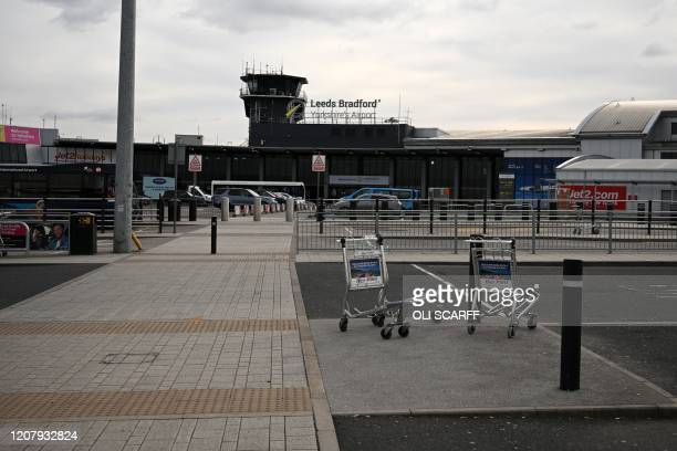 A neardeserted Leeds Bradford airport is pictured on March 21 as air travel grinds to a halt