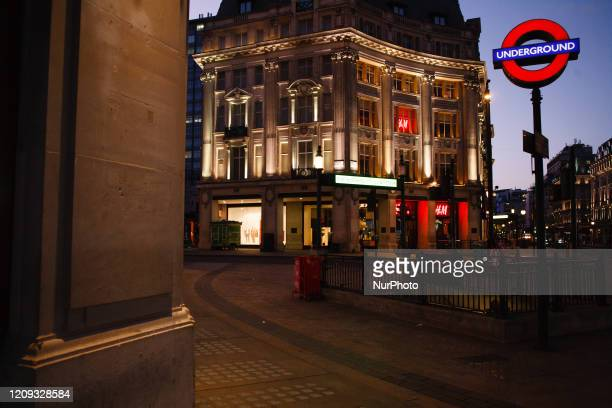 Near-deserted Oxford Circus at dusk in London, England, on April 6, 2020. Britain began its third week of coronavirus lockdown today, with the...