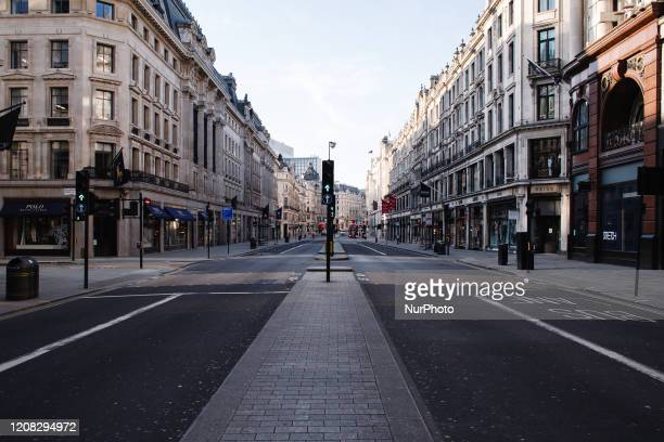 Near-deserted Regent Street in London, England, on March 26, 2020. According to the latest daily figures a total of 578 people have so far died...