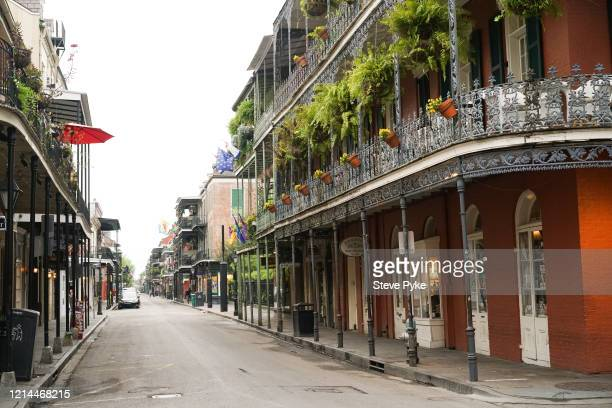 A neardeserted Royal Street in the French Quarter of New Orleans amid restrictions in place to help deal with the Covid19 pandemic 22nd March 2020