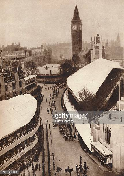 'Nearing the Abbey', 1937. King George VI and Queen Elizabeth seen arriving at Westminster Abbey for their coronation. From The Coronation of King...