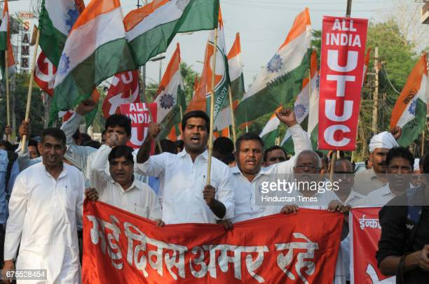 Nearly 300 members of Indian National Trade Union Congress take part in a rally on International Labour Day on May 1 2017 in Gurgaon India
