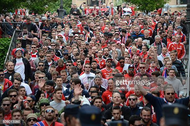 Nearly 3000 Bayern fans travel to Madrid to watch the UEFA Champions League match between Atl��tico de Madrid and Bayern Munich Supporters congregate...