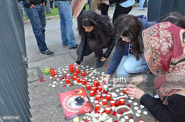 Nearly 600 people attend the march held by friends of Diren to commemorate him in Hamburg Germany on May 2 2014 People put flowers and light candles...