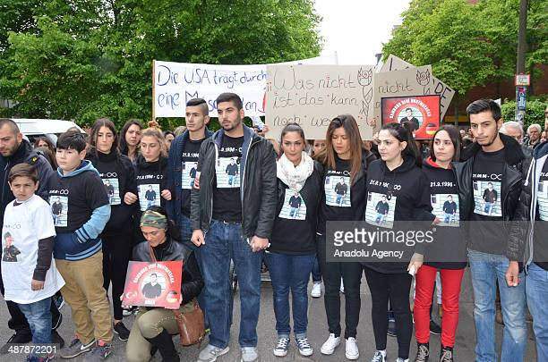 Nearly 600 people attend the march held by friends of Diren to commemorate him in Hamburg Germany on May 2 2014