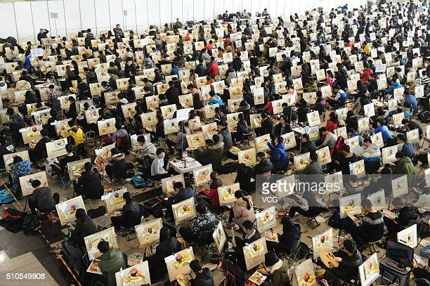 Nearly 7000 students take part in the college entrance exam for art at Shungeng International Convention and Exhibition Center on February 16 2016 in...